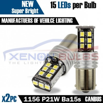 2x 1156 Super Bright White P21W 15 SMD 2835 LED Bulb 12V BA15S 1141 6000K Reverse daytime lights