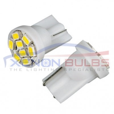 T10/501/W5W 8 SMD WHITE BULBS - PAIR