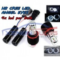 H8 4 LED 12W HIGH POWER CREE - ANGEL EYES - Halo Rings White..