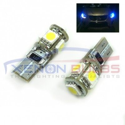 5 BLUE SMD T10/501/W5W LED BULBS - PAIR canbus