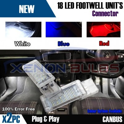 2x Golf MK5 MK6 MK7 7.5 LED VW BLUE Footwell Door Interior Lights under smd oem