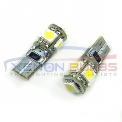 5 SMD T10/501/W5W LED BULBS - PAIR canbus Number plate