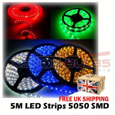12v 5M IP65 Flexible LED Strip Light Roll Waterproof Ribbon Tape BLUE RED WHITE GREEN