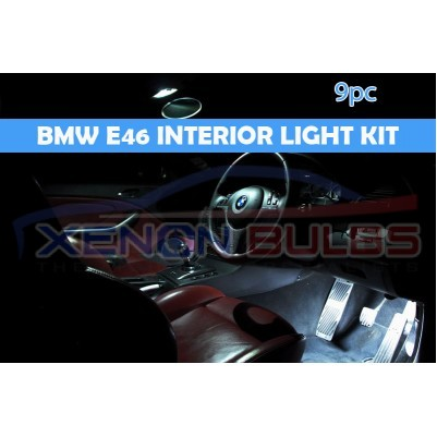 BMW 9 PC E46 WHITE LED INTERIOR KIT COUPE