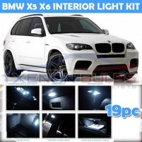 BMW 19 PC X5 X6 E70 E71 WHITE LED INTERIOR KIT WHITE..