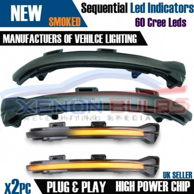 2x Sequential LED Wing Mirror Cover Indicator light Golf Mk7 GTi R GTD Smoked UK