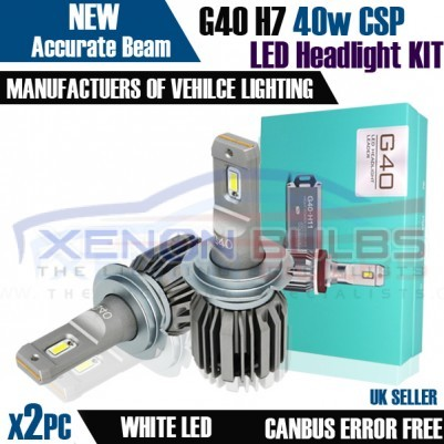 H7 G40 CANBUS ERROR FREE WHITE LED KIT 6500K MOT LEGAL ACCURATE BEAM PATTERN