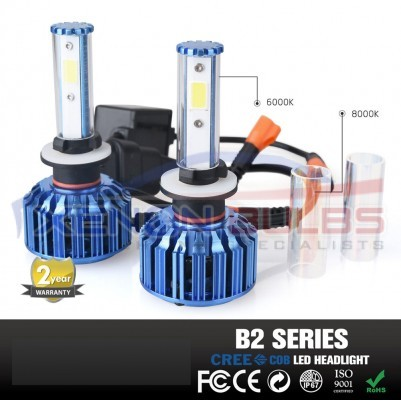 B2 Series COB CREE LED Headlight Conversion Kit H7 60W 6k 8k White