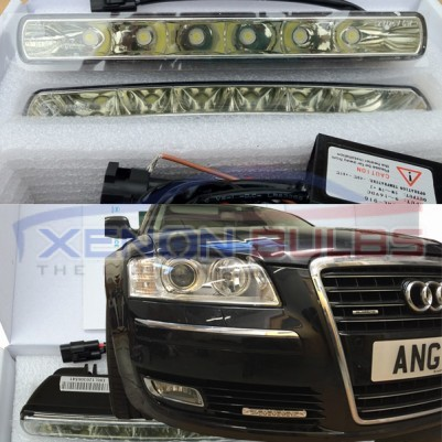 6 HIGH POWER LED DRL Ignition Start WHITE DAYTIME RUNNING LIGHT