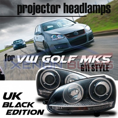VW Golf MK5 R32 Black Projector Xenon Look Headlights Headlamps Set Bi Xenon