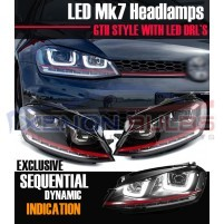 RED HEADLAMPS For VW GOLF MK7 BI XENON DRL DAYTIME RUNNING LIGHT LED R..