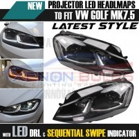 VW GOLF MK7.5 Chrome HEAD Lamps LED DRL BI XENON GTD SWIPE SEQUENTIAL ..