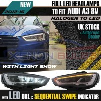 Full LED Headlights for Audi A3 8V Pre-Facelift (2013-2016) sequential..