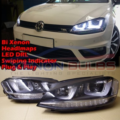 HEADLAMPS For VW GOLF MK7 VII BI XENON DRL DAYTIME RUNNING LIGHT LED RHD