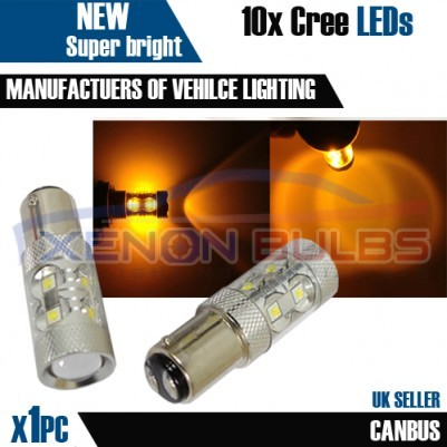 1x 50w AMBER CANBUS ERROR FREE CREE 1157 380