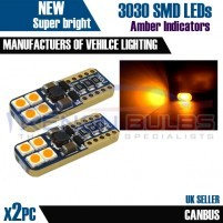2x T10 W5W 501 3030 8 SMD BRIGHT AMBER BULBS CANBUS INDICATOR SIDE REP..