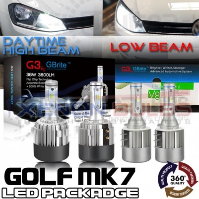 VW GOLF MK7 LED HEADLIGHT KIT PACKAGE DRL SUPER HIGH BEAM FLASH H15 H7