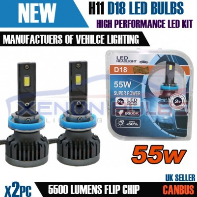 2x H11 D18 CANBUS ERROR FREE 55W WHITE LED FOGLIGHT KIT 6000K ACCURATE BEAM PATTERN