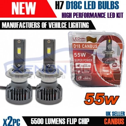 2x H7 D18C CANBUS ERROR FREE 55W WHITE LED KIT 6000K ACCURATE BEAM PATTERN UK STOCK