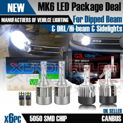 GOLF MK6 LED H7 H15 HEADLIGHT BULBS PACKAGE DRL HIGH BEAM FLASH SIDE LIGHTS