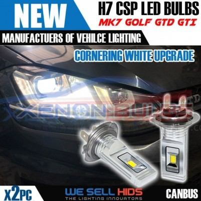 H7 CSP FOR MK7 GOLF LED CORNERING Bulb Seoul 12 Chip Canbus Error Free