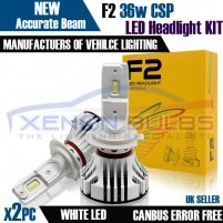 F2 H4 H7CANBUS ERROR FREE WHITE LED KIT 6500K  MOT LEGAL ACCURATE BEAM..