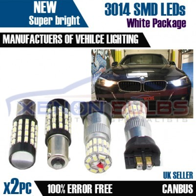 BMW F30 Package Daytime & S idelights BAX9S H6w 54 SMD 3014 PW24W Canbus Error Free White