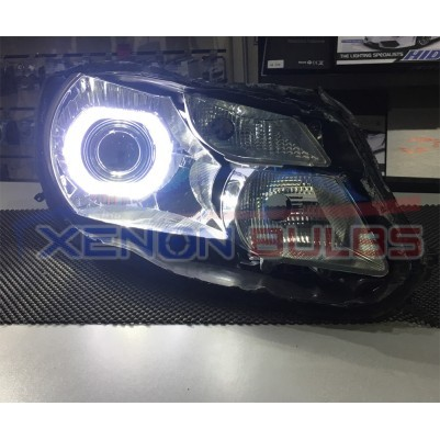 "BI Xenon Projector Lens with LED Square angel eye light HID H1 H7 H4 lense mini 3.0"" ball chrome shroud"